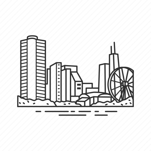 building, chicago, city, famous city, famous skyline, illinois, skyline icon