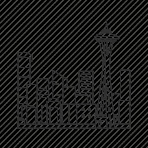 building, city, famous skyline, seattle, skyline, space needle, washington icon