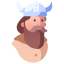 barbarian, beard, fantasy, helmet, man, viking, warrior icon