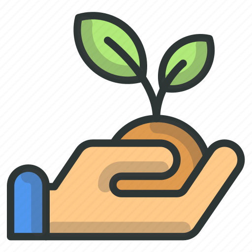 farm, hand, hold, plant, success icon