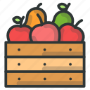 apple, basket, farm, fruit icon