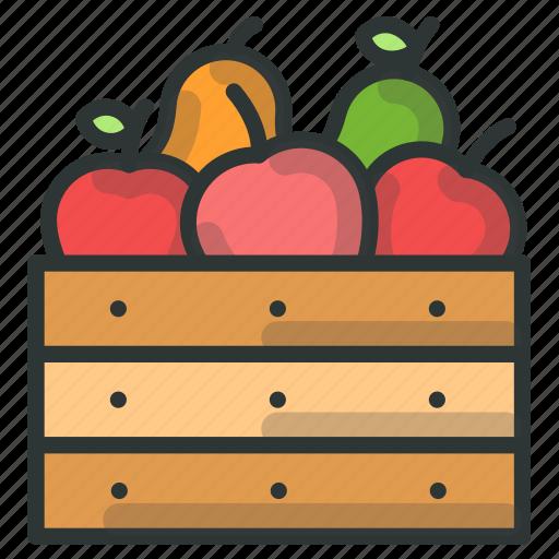 apple, basket, farm, fruit icon