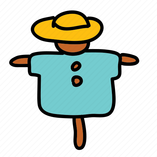 crow, farm, field, harvest, hat, scare, shirt icon
