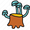 farm, mushrooms, nature, stump, tree icon