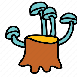 farm, mushrooms, nature, stump, tree icon