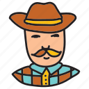 cowboy, farm, farmer, hat, mustache icon