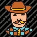 cowboy, farm, farmer, hat, mustache