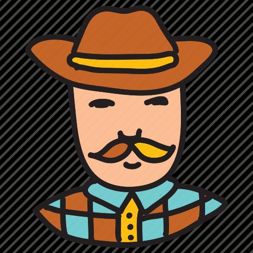 cowboy, farm, farmer, hat, mustache icon