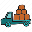 farm, delivery, pickup, truck, vehicle, loaded