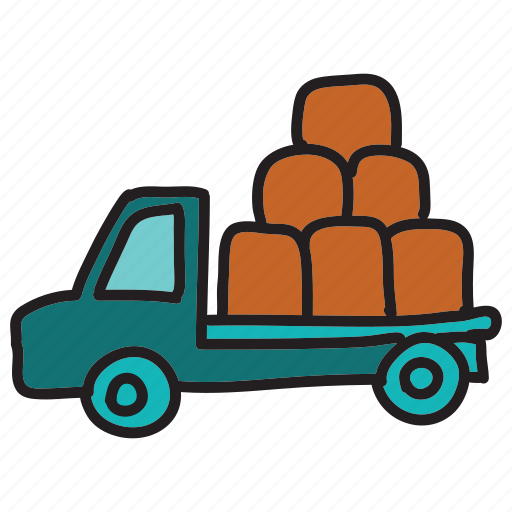 delivery, farm, loaded, pickup, truck, vehicle icon