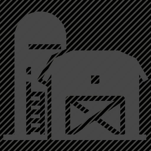 building, farm, house, silos icon
