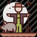 agriculture, farmer, gardening, landscape, pig