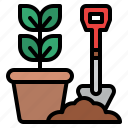 pot, gardening, plant, shovel icon