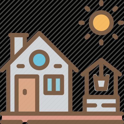 agriculture, farm, farming, house, well icon