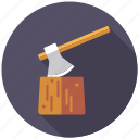 agriculture, axe, chopping block, farm, logwood, tool