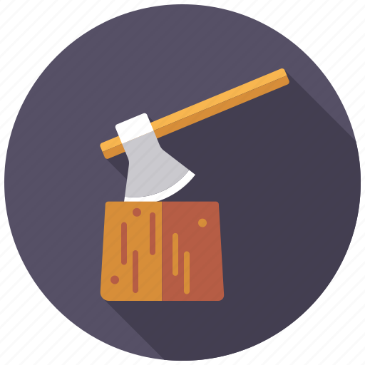 agriculture, axe, chopping block, farm, logwood, tool icon