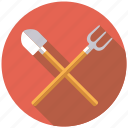 agriculture, equipment, farm, fork, shovel, spade, tools icon
