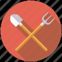 agriculture, equipment, farm, fork, shovel, spade, tools