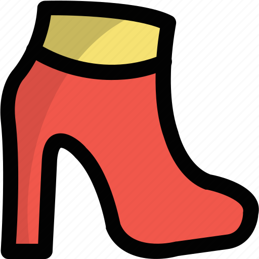 fashionable stiletto, footwear, high heel shoes, ladies shoes, platform ankle boot icon