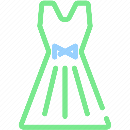clothes, cocktail dress, dress, female, girl, ribbon, woman icon