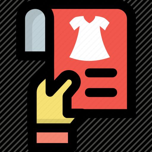 fashion article, garment catalogs, shopping catalogs, shopping magazine, shopping news icon