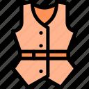apparel, clothing, fashion, style, vest icon