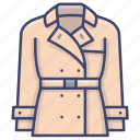 clothes, coat, fashion, trench icon