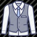 jacket, suit, vest, waistcoat icon
