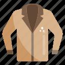fashion, formal dress, garments, men clothing, men coat icon