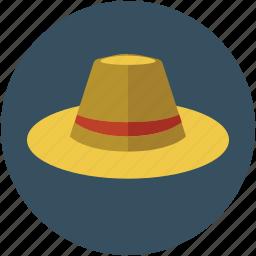 cowboy, cowboy hat, field hat, harvest hat, headwear, sun hat, sun helmet icon