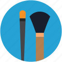 blush brush, bronzer brush, eyeliner brush, fan brush, foundation brush, hard angle brush, makeup brushes icon