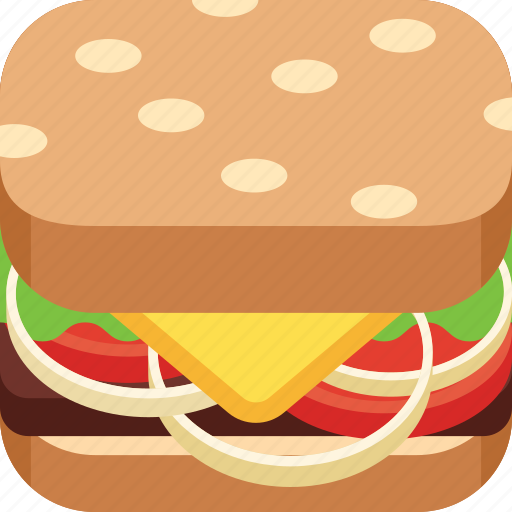 beef, burger, cheese, fast food, onion ring, salad, tomato icon