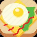 breakfast, cheese, fast food, fried egg, salad, sandwich, sauce
