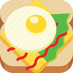 breakfast, cheese, fast food, fried egg, salad, sandwich, sauce icon