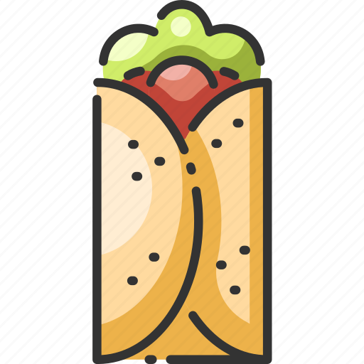 beef, burrito, food, meat, mexican, salad, tomato icon