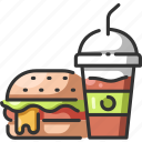 burger, drink, fast, food, fresh, meal, smoothie icon