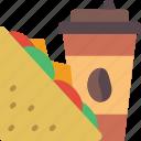 coffee, fast, food, sandwich, take away, takeaway icon