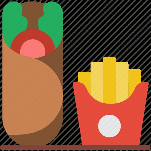 burrito, fast, food, fries, take away, takeaway icon