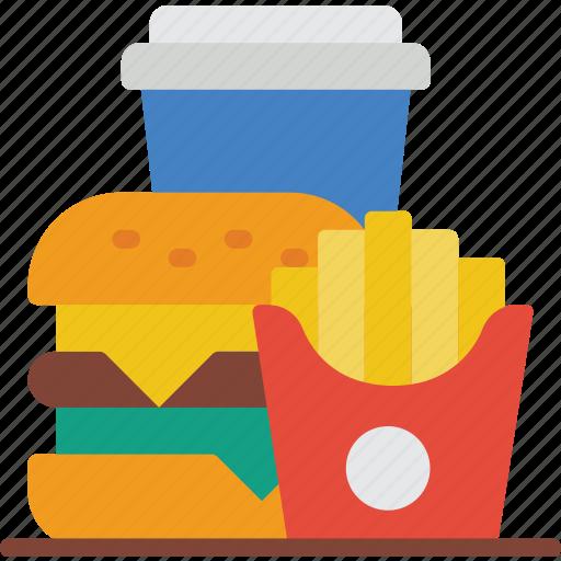 burger, drink, fast, food, fries, take away, takeaway icon