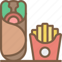 burrito, fast, food, fries, take away, takeaway icon