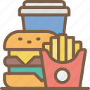 burger, drink, fast, food, fries, take away, takeaway icon