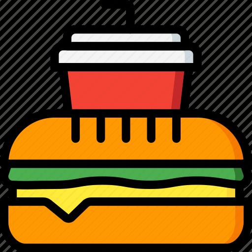 burger, drink, fast, food, take away, takeaway icon