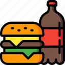 burger, drink, fast, food, take away, takeaway icon