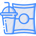 crisps, drink, fast, food, take away, takeaway icon