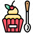 bakery, cake, cupcake, dessert, spoon icon