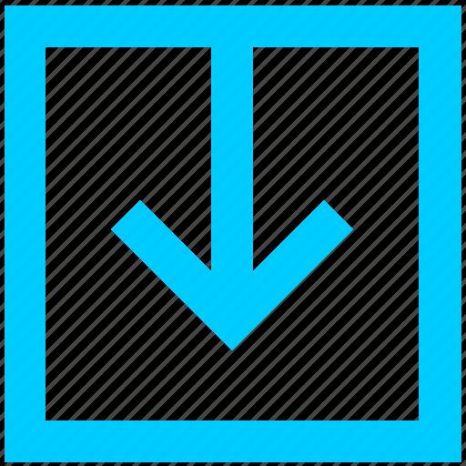 arrow, down, download, file, loading, square icon