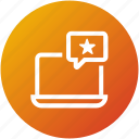 comment, feedback, laptop, online, rating, review icon