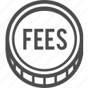 cash, coin, fees, payment icon