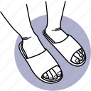 shoes, sandal, footwear, slipper, flip flop, slippers, leg icon