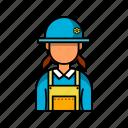 female, hat, profile